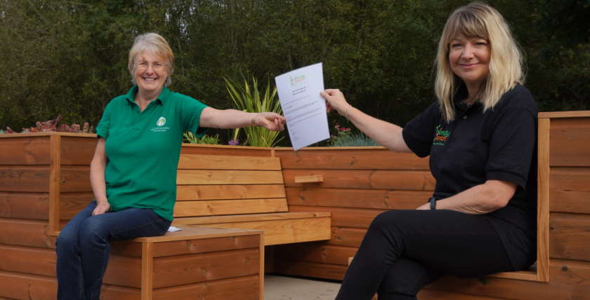 Morag and Lyndsey, the creator of The Friendly Bench
